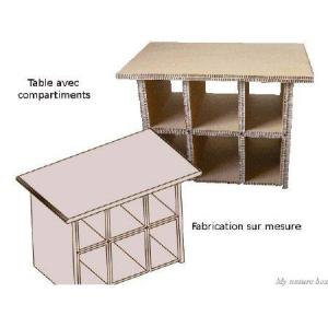 Table en carton recyclé avec rangements.(6 casiers étagères). - My Nature Box