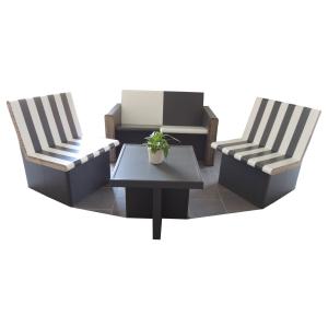 Ensemble canapé, fauteuils, table basse - My Nature Box