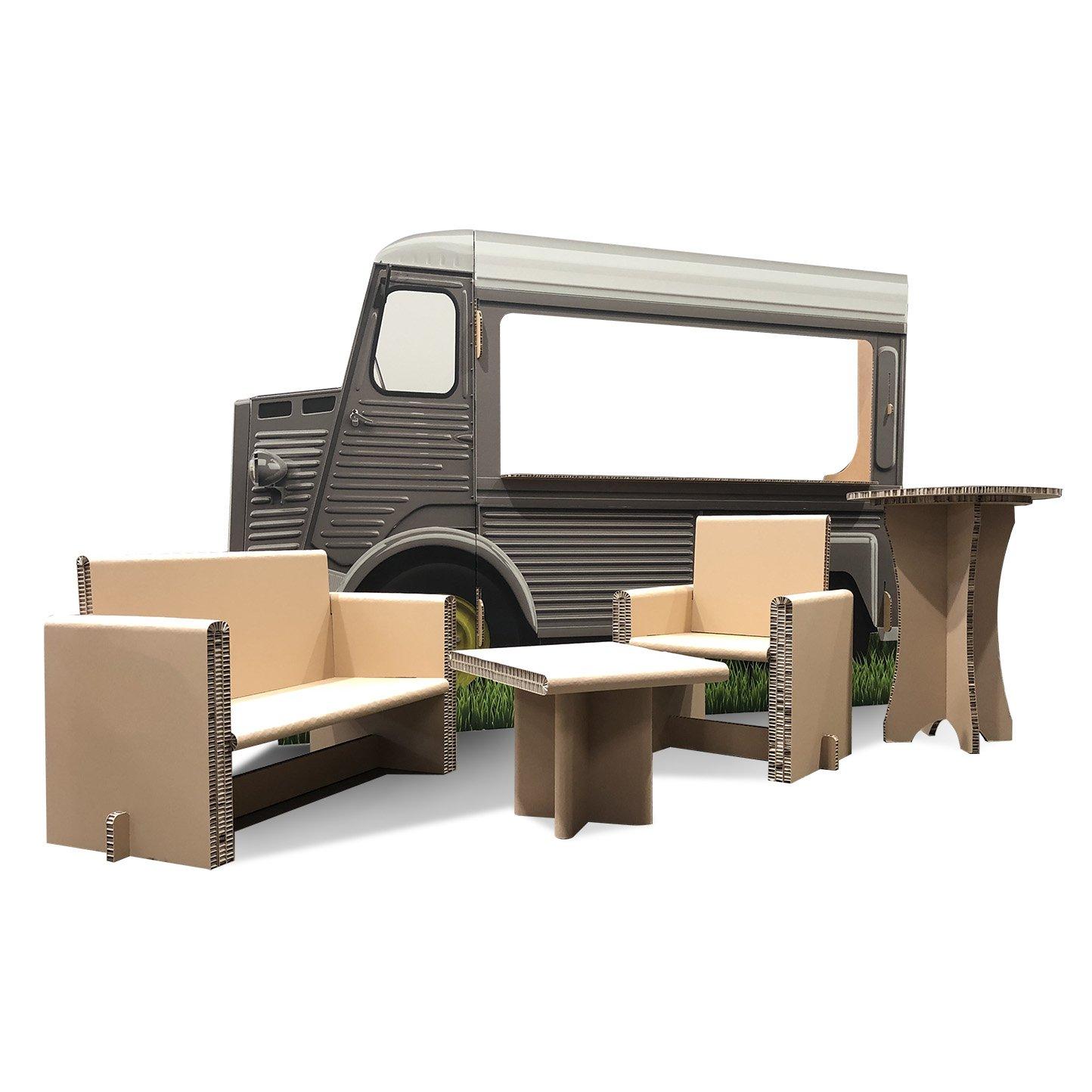 Food truck en carton + canapé et fauteuil en carton