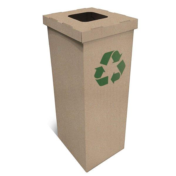 Poubelle en carton logo recyclé